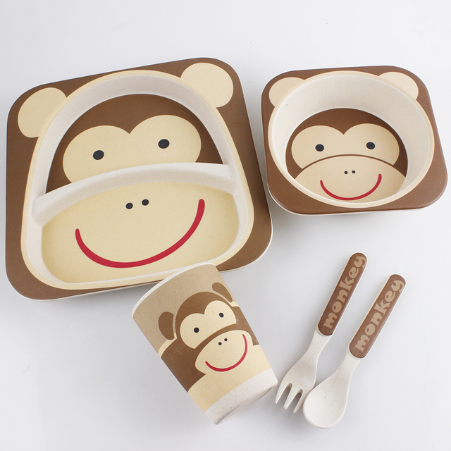 Cute Monkey Bowl plateand so on tableware 5 piecesbamboo fiber children tableware High & Cute Monkey Bowl plateand so on tableware 5 piecesbamboo fiber ...