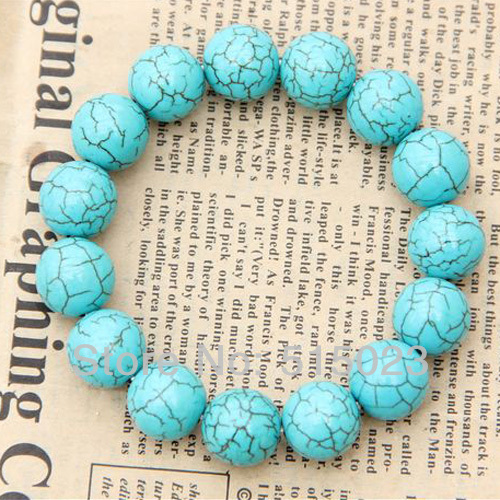 Classic Bracelet green 12mm Round Beads adjustable Birthday Gift haprose gifts TB14