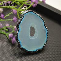 5pcs New Design Black Rhinestone & Rainbow Shell Clay Paved Blue Stone Pendants Fashion Necklace Making Materials