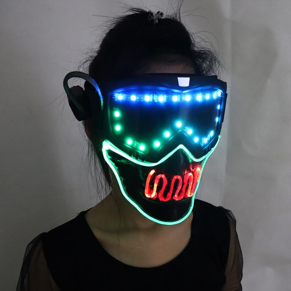 Full color smart pixel Led Mask Halloween Party Masque Masquerade Masks Cold Light Helmet Fire Festival