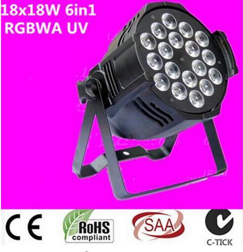 18x18 w rgbwa uv 6in1 DMX a mené la coquille légère d'alliage d'aluminium de pair