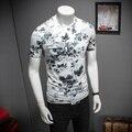 Moda Coreano Camisa Dos Homens T Plus Size 2017 Slim Fit Curto T-Shirt Dos Homens de Impressão de Seda Casual O-Neck Tee Camisa de manga Para Homens clothing