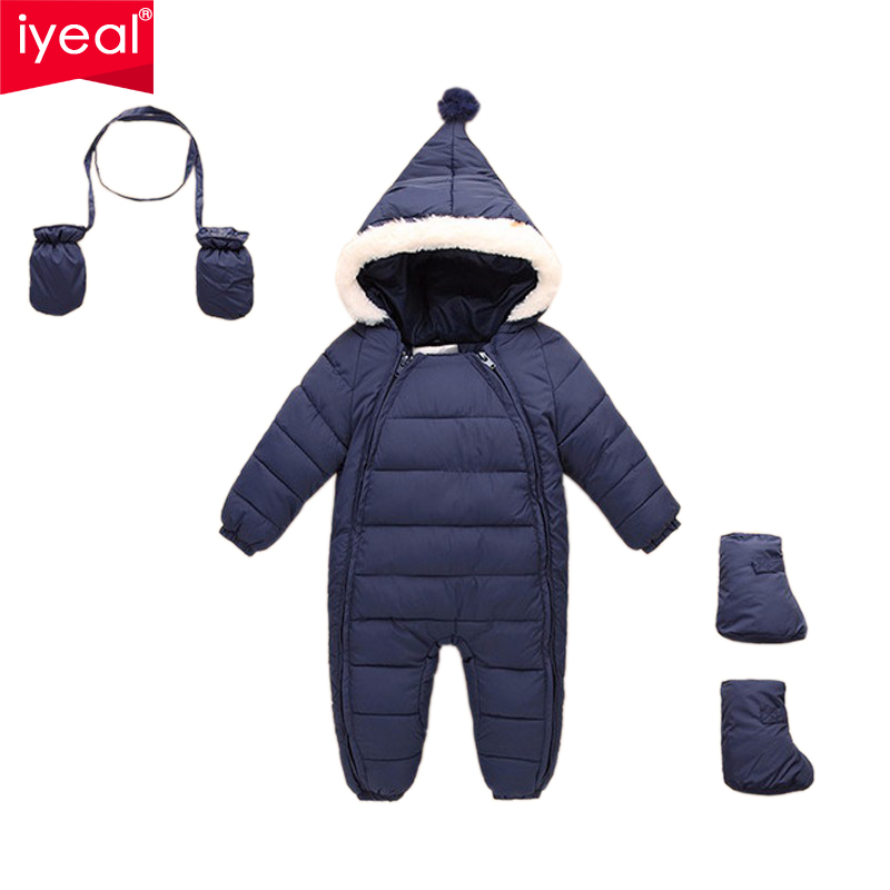 IYEAL Brand Cotton Baby Rompers Winter Thick Boys Costume Girls Warm Infant Snowsuit Kid Jumpsuit Children Outerwear Baby Wear winter baby snowsuit baby boys girls rompers infant jumpsuit toddler hooded clothes thicken down coat outwear coverall snow wear