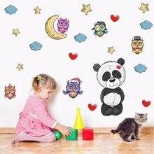 3D Cartoon Animals Panda Baby Owl Wall Stickers Panda Nursery Room Decor Art Wall Decal Poster For Kids Rooms Home Decor