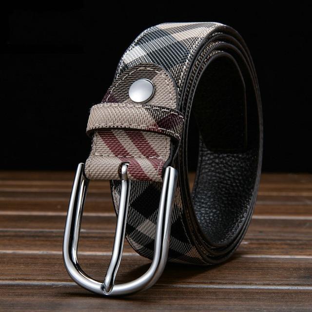 Venta caliente del hombre de la correa 2016 moda cinturones anchos estilo de la tela escocesa femenina correa de cuero de las mujeres de la correa famosa marca para las mujeres de lujo envío gratis