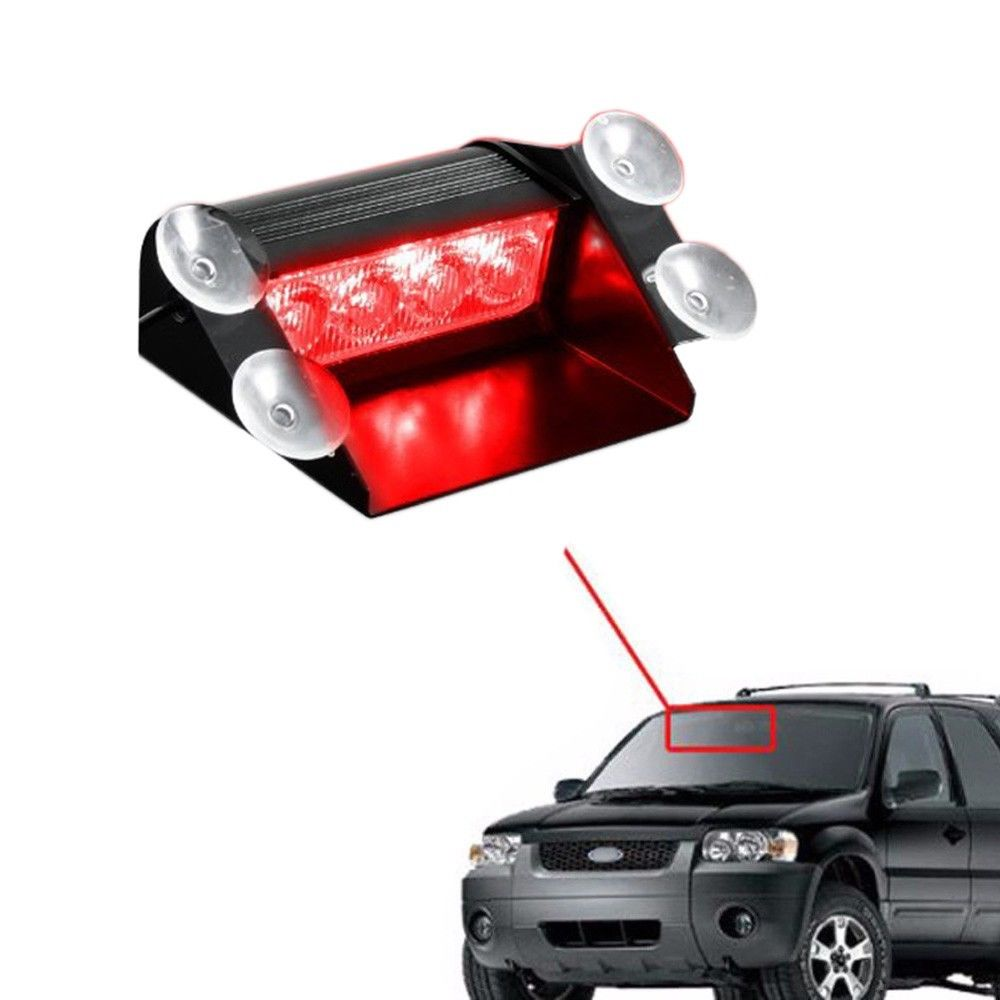 CYAN SOIL BAY Red 4 LED Car Emergency Warning Dashboard Dash Visor Police Strobe Lights Lamp cyan soil bay red blue 4 led car emergency warning dashboard dash strobe lights lamp