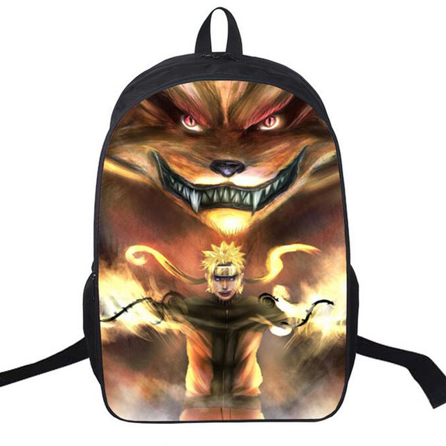 Naruto 3D Printing College Student School Bag Designer Backpack
