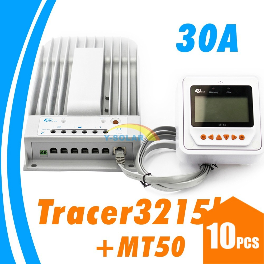10PCS 30A MPPT Solar Controller 12/24V Solar Panel MPPT solar regulator Epsolar dual timer GEL Battery option Remote Meter MT50 with white color mt50 remote meter epsolar pwm solar battery charger controller bluetooth function usb cable ls2024b 20a