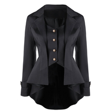 CharMma 2017  New Fashion Autumn Slim Gothic Coats Button Up Notched Collar Solid High Low Outwear Female Trench Outerwear Tops