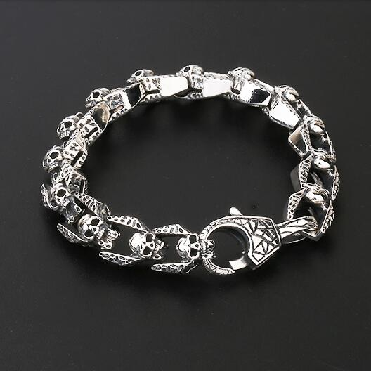 Vintage 100 925 Silver Skeleton Bracelet Sterling Skull Chain Punk Rock Jewelry Man In Link Bracelets From Accessories
