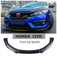 Car Front Lip Spoiler For HONDA CIVIC 2016 2017 2018 2019 Bumper Diffuser Spoilers High Quality PP Auto Modification Accessories
