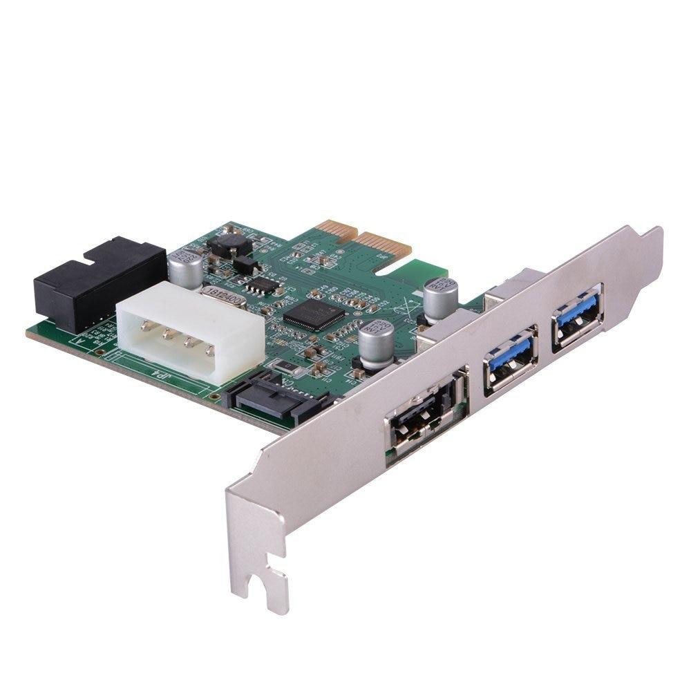PCIe к двойному USB 3,0 и 1 порту питания eSATA Плата расширения концентратор контроллер адаптер с внутренним 19-контактный разъем для настольного ПК