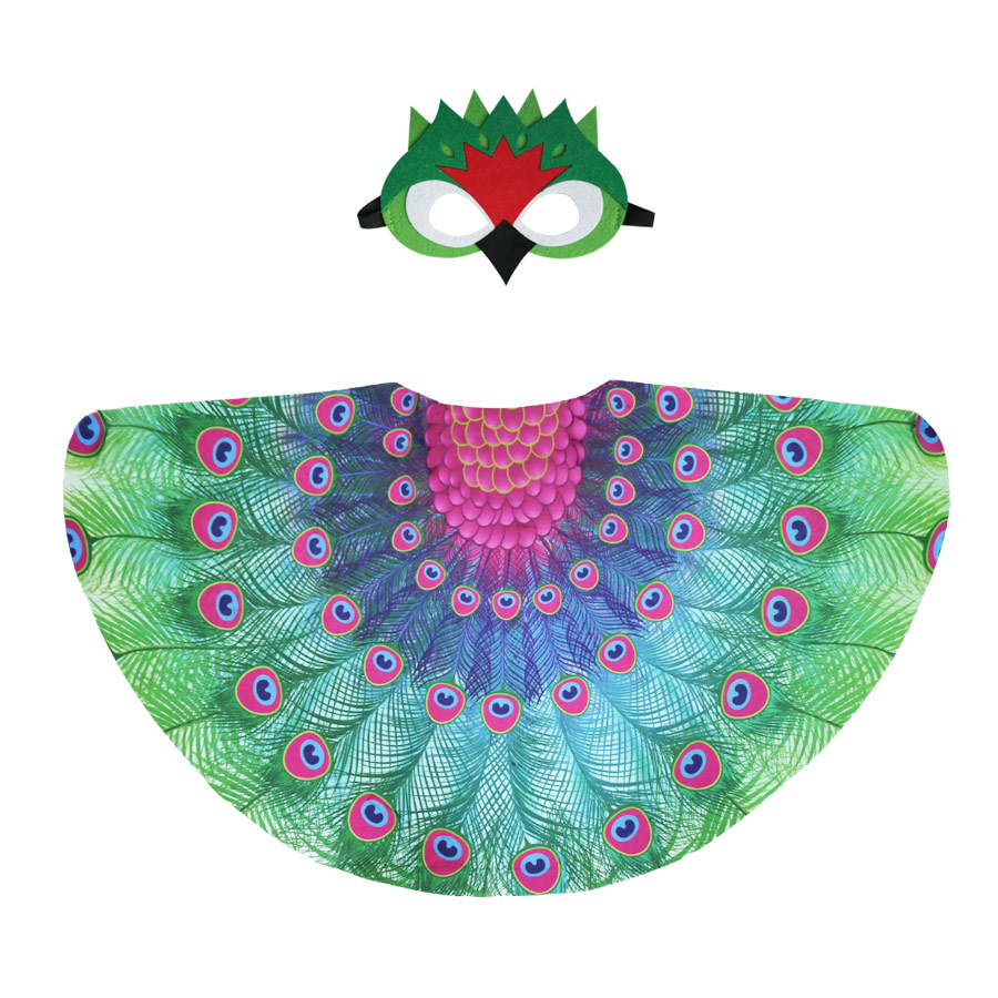 Special <font><b>120*70</b></font> cm Peacock Wing And Peacock Mask Girls Costumes Shawls Animal Party Themes Costume Wing Party Gifts Favor image