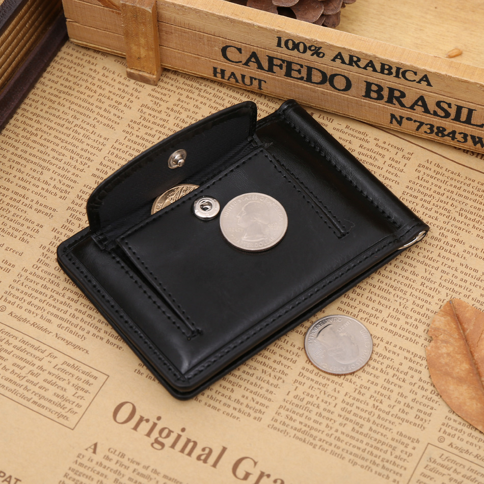 Quality Classic Fashion Men Money Clips Black Coffee Bright Leather 2 Fold Open Clamp For Money With Coin Pocket #04