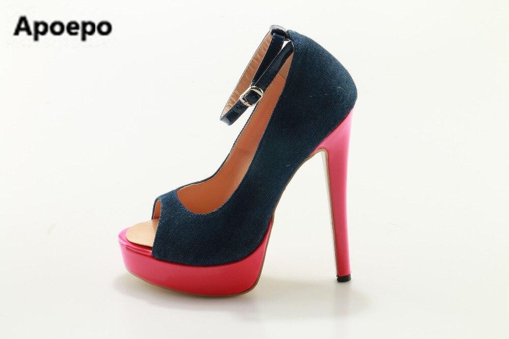 Apoepo brand pumps hot selling high heel suede pumps platform shoes female peep toe blue Cowboy shoes red stilettos ayakkabi apoepo hot selling green suede high heel