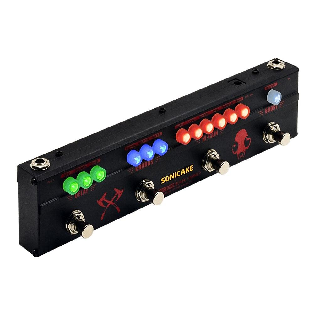 Sonicake Multi Gitarre Effekt Pedal SCHWARZ HAMMER mit 4 Funktionen in 1 Hallo-Gain Verzerrung Chorus und Verzögerung Wirkung gitarrist Muss