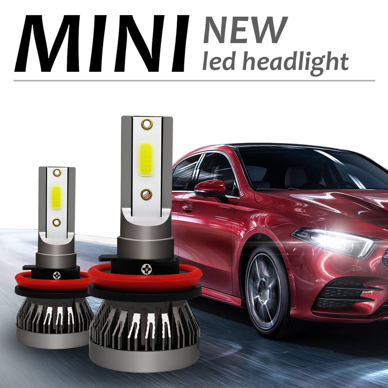 2x Mini 1 LED Car Headlight H4 H1 H7 H11 9005 9006 90W 12000LM Headlight Conversion Kit COB Bulb White 6000K Car Accessories2x Mini 1 LED Car Headlight H4 H1 H7 H11 9005 9006 90W 12000LM Headlight Conversion Kit COB Bulb White 6000K Car Accessories