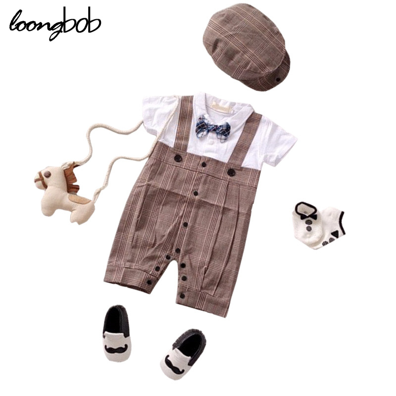 2015 New baby rompers recem nascido gentleman plaid straps overall jumpsuit +cap baby boy clothing roupa infantil baby costumes