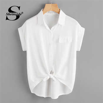 Sheinside Rolled Cuff Knotted Hem Shirt 2018 Summer Short Sleeve Button Casual Blouse Women White Office Ladies Top - DISCOUNT ITEM  40% OFF All Category