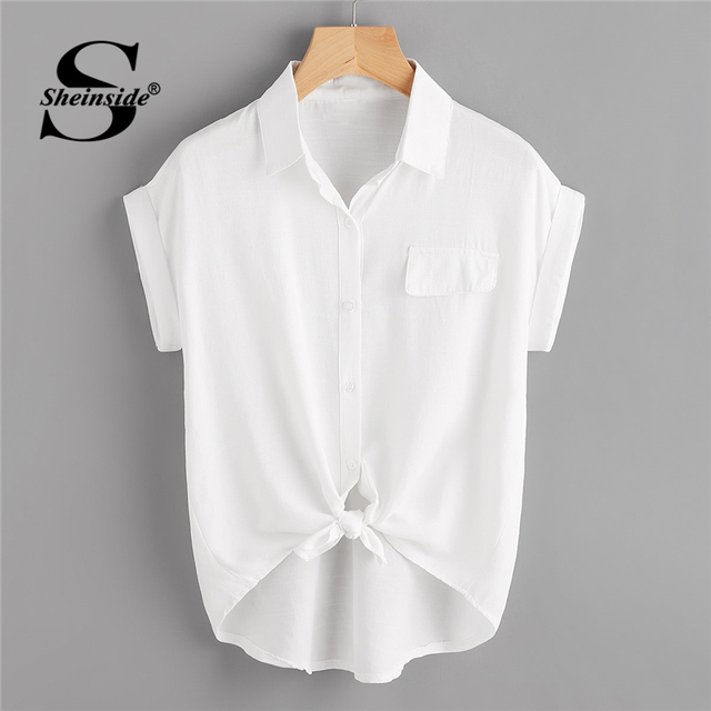 a2d9f613c3 Sheinside Rolled Cuff Knotted Hem Shirt 2018 Summer Short Sleeve Button  Casual Blouse Women White Office Ladies Top