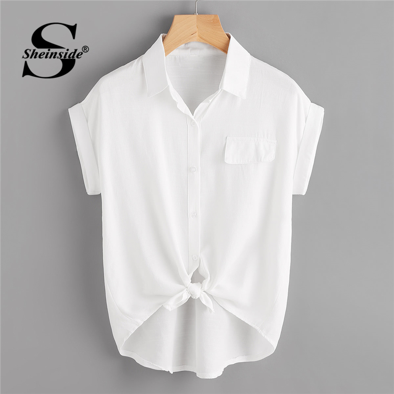 Sheinside Rolled Cuff Knotted Hem Shirt 2018 Summer Short Sleeve Button Casual Blouse Women White Office Ladies Top