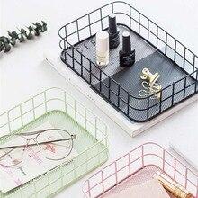 Скандинавские прямоугольные металлические корзины для хранения офисных мелочей, Железные Корзины, скандинавские туалетный столик, органайзер для косметики, корзина