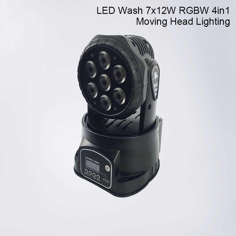 RGBW 4в1 светодиодный сценический свет движущаяся голова луч 7x12 Вт вечерние свет DMX-512 светодиодный Dj Рождественский звук активный DMX диско свет