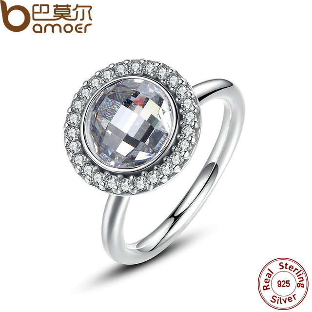 BAMOER 2017 New Spring Collection 925-Sterling-Silver Primrose Brilliant Legacy Ring White CZ Clean Stone Ring Jewelry PA7149