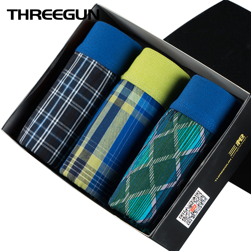 THREEGUN 3PCS/LOT Men Underwear Boxers Loose Shorts Plaid Boxers with Elastic Waistband Homme Arrow Pants At Home Underwear Male