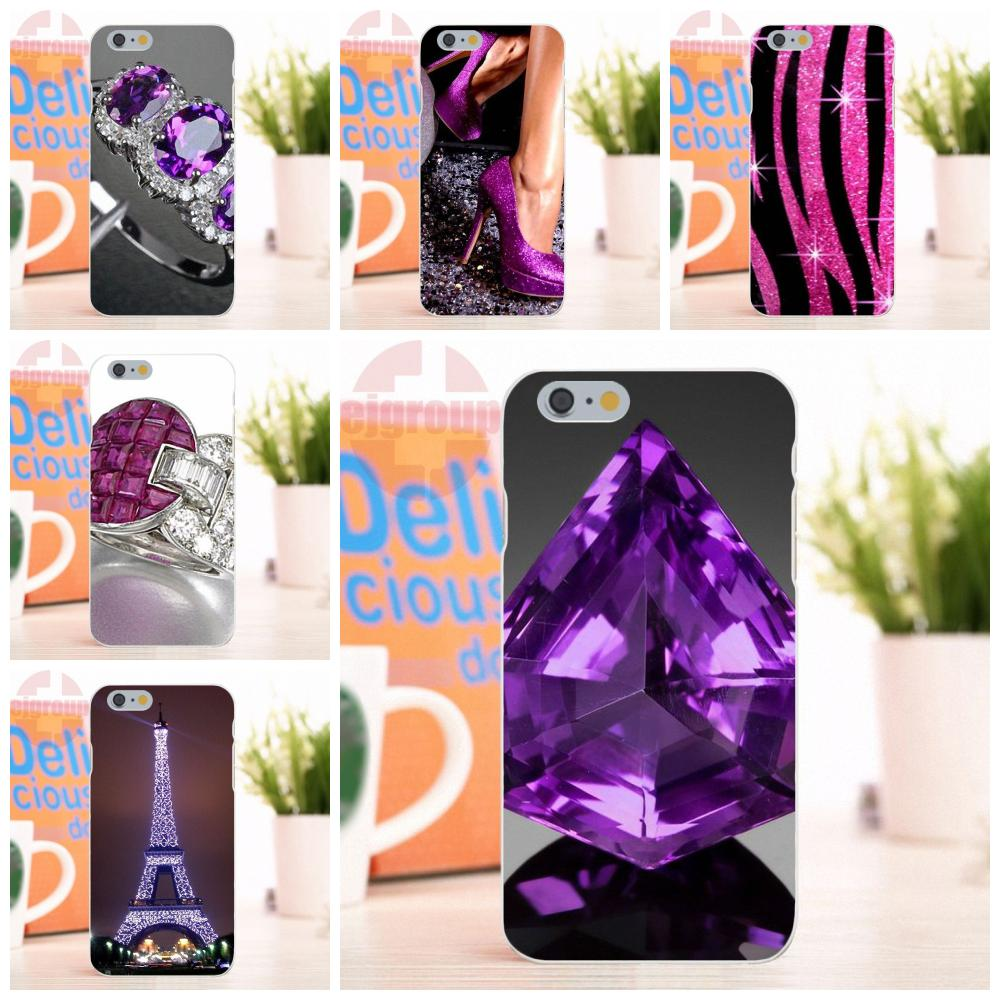 EJGROUP Purple Sparkly Bling For Apple iPhone 4 4S 5 5S 5C SE 6 6S 7 8 X Plus Soft Silicone TPU Transparent Live Love Phone