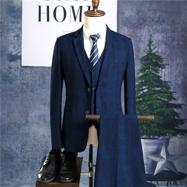 2018 Mens Suits 3 Pieces erno masculino Grey Plaid Wedding male suit Slim Fit Bridegroom Tuxedos Groomsmen Suits sets CD30