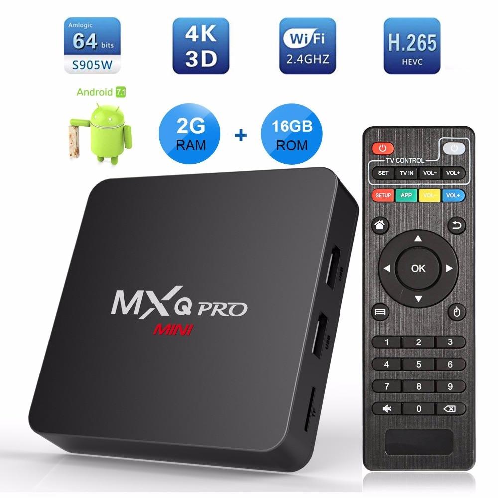 MXQ PRO MINI Smart TV Box Android 7.1 Amlogic S905W Quad Core 2GB RAM 16GB ROM WIFI 3D 4K H.265 TV Set Top Box PK TX3 X96 MINI x96 mini tv box android 7 1 amlogic s905w quad core smart kodi tv boxes 2gb ram 16gb rom 4k hdr h 265 iptv subscription 1 year