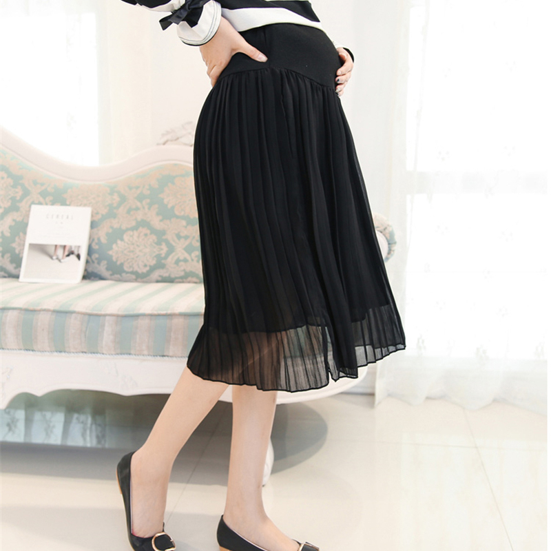 274d033ab3288 HziriP Maternity Skirts New 2018 Spring Fashion Chiffon Care Belly A Line  Pleated Skirt High Waist Black&Gray Pregnancy Clothes-in Skirts from Mother  & Kids ...