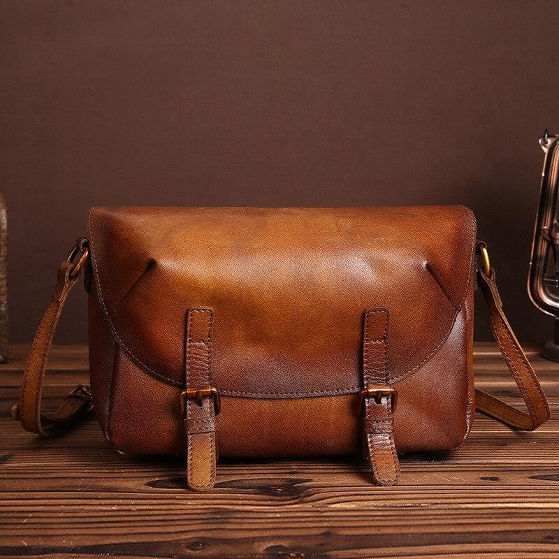 200c055be642 Ladies  Genuine Leather Handbag Vintage Women Small Bags Simple Nylon Brush Handmade  Leather Flap Shoulder Messenger Bag LS8843-in Top-Handle Bags from ...
