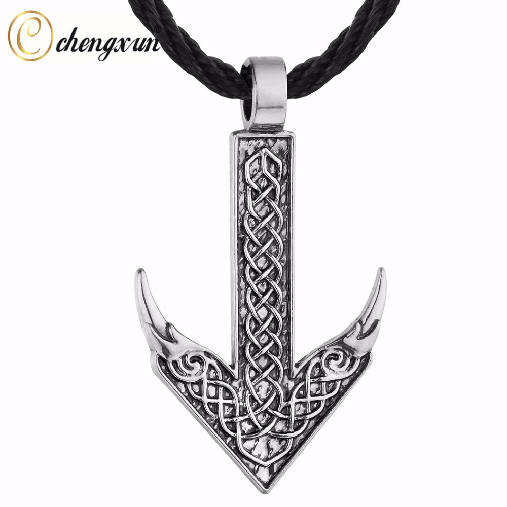 CHENGXUN Viking Rune Flying Wing Pendant Arrow Direction of Life Necklace Black Chain Men Jewelry Nordic Talisman