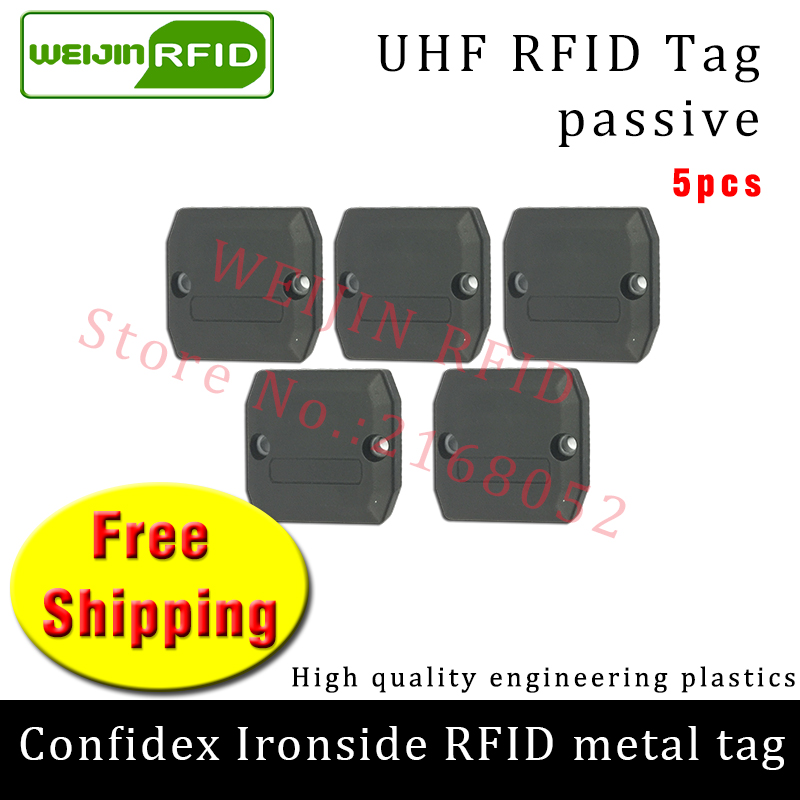 UHF RFID metal tag confidex ironside 915m 868mhz Impinj Monza4QT EPC 5pcs free shipping durable ABS smart card passive RFID tags prorab epc 4
