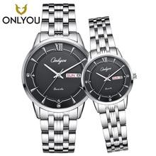 ONLYOU 2PCS Diamond Watches Crystal Lover Watch Men Gold Stainless Steel Women Watches Week Display Ladies Clock reloj mujer