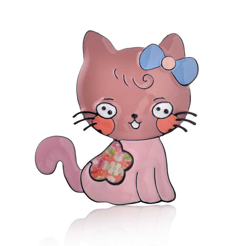 Kucing Lucu Bros Enamel Alloy Hewan Bros Pin untuk Wanita Anak Perempuan Fashion Mantel Gaun Perhiasan Pernikahan Hadiah