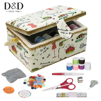 Wood&Fabric Craft Sewing Box with Sewing Tool Kit Accessories Vintage Organize Box for Mom Women Hobbyist Gift