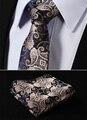 """Tf2013d7 ouro marinho azul Paisley 2.75 """" 100% de seda tecido Skinny Slim homens estreitas gravata do laço lenço de bolso praça conjunto terno"""