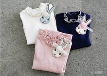 2016 Autumn New Girl T-shirts Ruffle Hight Collar Cartoon Bunny Long Sleeve T-shirts Children Clothes 2872