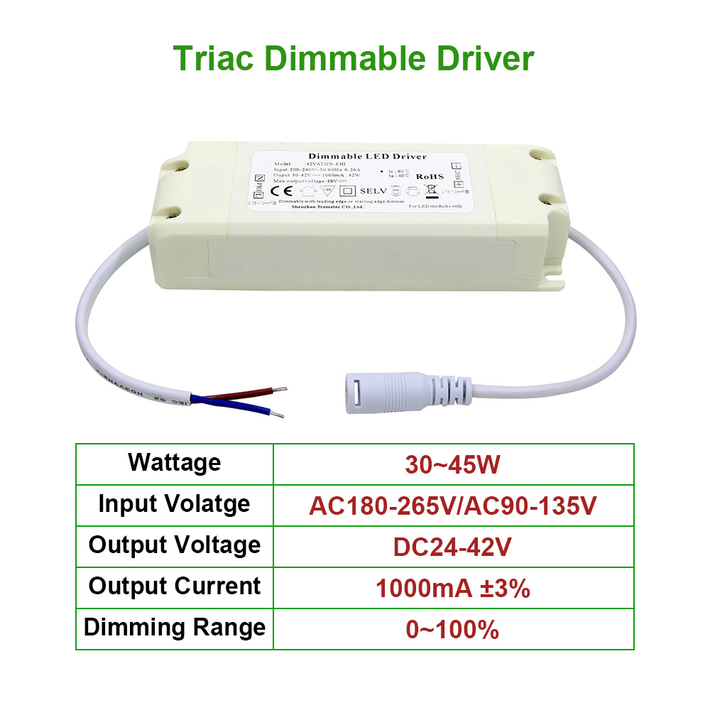 30-45W Triac Dimmable LED Driver 1000mA 1A constant current LEDs Power Supply Unit AC90-265V Lighting Transformers For LED Lamps