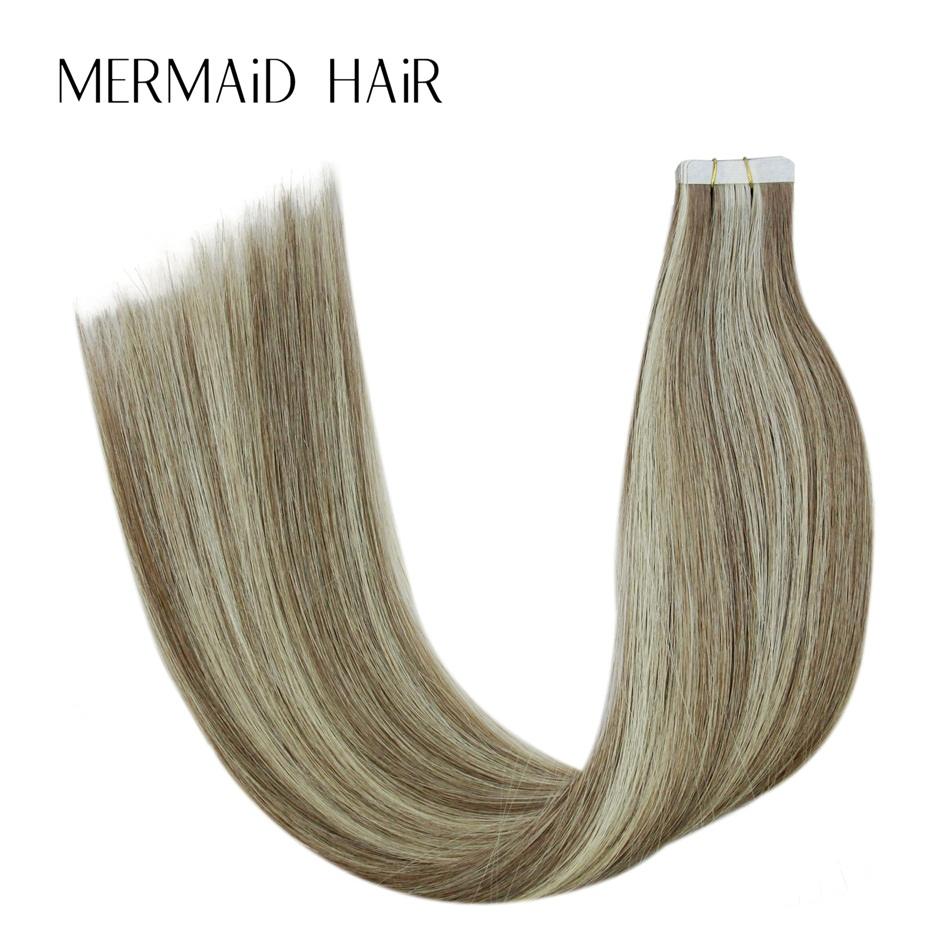 Mermaid P8-613 Double Drawn Remy Hair Extensions Tape In 16 18 20 22 Real Human Hair On  ...