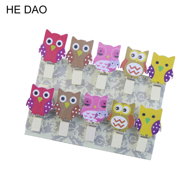 10pcs/Bag Kawaii Owl Wooden Clip Photo Paper Postcard Craft Diy Clips With Hemp Rope Office Binding Supplies