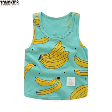 TomoKids summer children's T-shirts for boys Baby sleeveless banana printed thin children's clothing