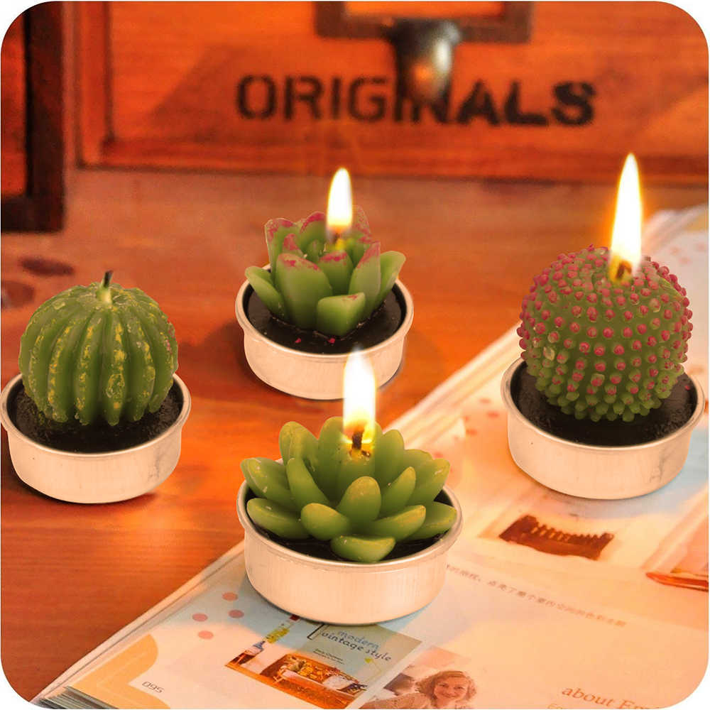 12pcs/set Simulation Succulent Cactus Candles Handmade Cactus Tealight Candles for Spa Home Party Wedding Decoration Gifts