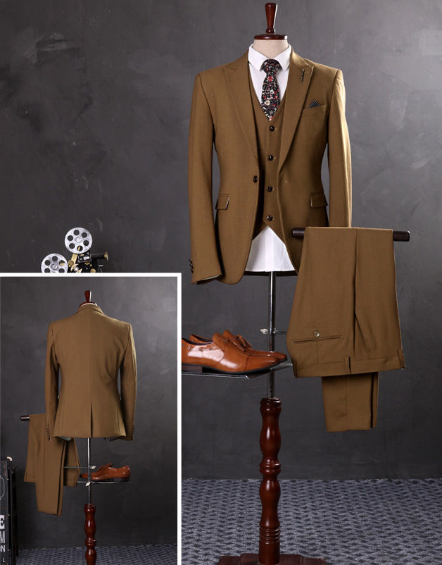 3PCS Camel Men Suits Slim Fit Groom Tuxedos Wedding Formal 38 40 42 44+ Custom