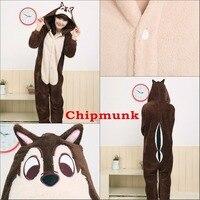Factory Wholesale Christmas Chipmunk Animal Pajamas Cosplay Costume Adult Animal Sleepwear Red Panda Halloween Costumes For Sale