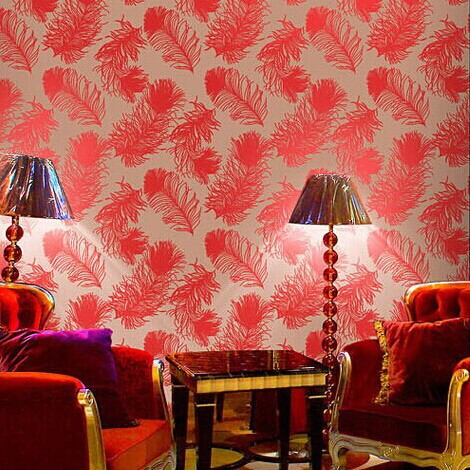 Modern solid gold foil red peacock feather Leaves Wallpaper entertainment KTV bar background wall paper rolls