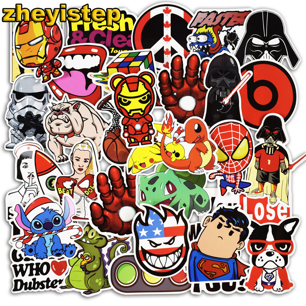50 Pcs Super Hero Stickers Anime Cartoon Sticker for Laptop Guitar Skateboard Luggage Car Kids PVC Waterproof Stickers 230 pcs rick and morty cartoon pvc waterproof sticker for luggage skateboard phone laptop moto trunk guitar car diy stickers